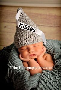 Hershey Kisses Hat With Ribbon Size Newborn- 3 Months Crocheted Photo Prop Sale