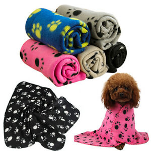 Pet-Cat-Dog-Puppy-Winter-Blanket-Warm-Beds-Mat-Cover-Soft-Fleece-Paw-Print-Super