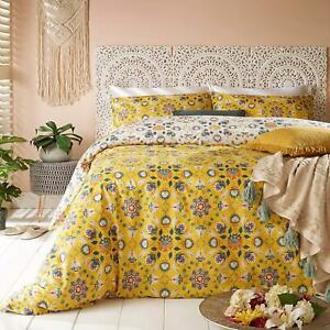 BRIGHT FOLK FLOWERS FLORAL OCHRE GOLD COTTON BLEND SUPER KING DUVET COVER