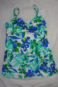 Island Escape Swimdress Sz 14 Blue Multi Twist Front One Piece Swimsuit R760995