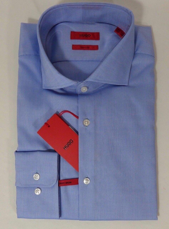 HUGO BOSS C-MELI US ROT LABEL DRESS SHIRT SHARP FIT SPREAD COLLAR Blau - NWT