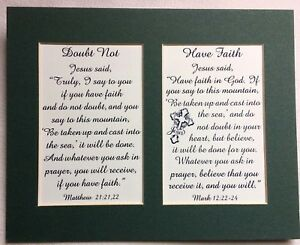 Details about FAITH No Doubt MOVE MOUNTAINS Receive PRAYERS Believe GOD  verses poems plaques