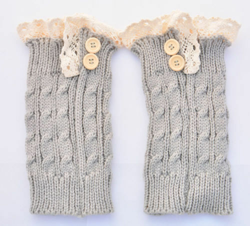 Women Crochet Knitted Lace Trim Boot Cuffs Toppers Leg Warmers Winter Socks