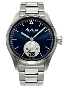 Alpina-Men-039-s-Quartz-Calibre-Silver-Tone-Navy-Dial-44mm-Watch-AL-280NS4S6B
