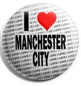 "Birthday Gift I Love Manchester City Pin Badge 3/"" 75mm Stocking Filler"