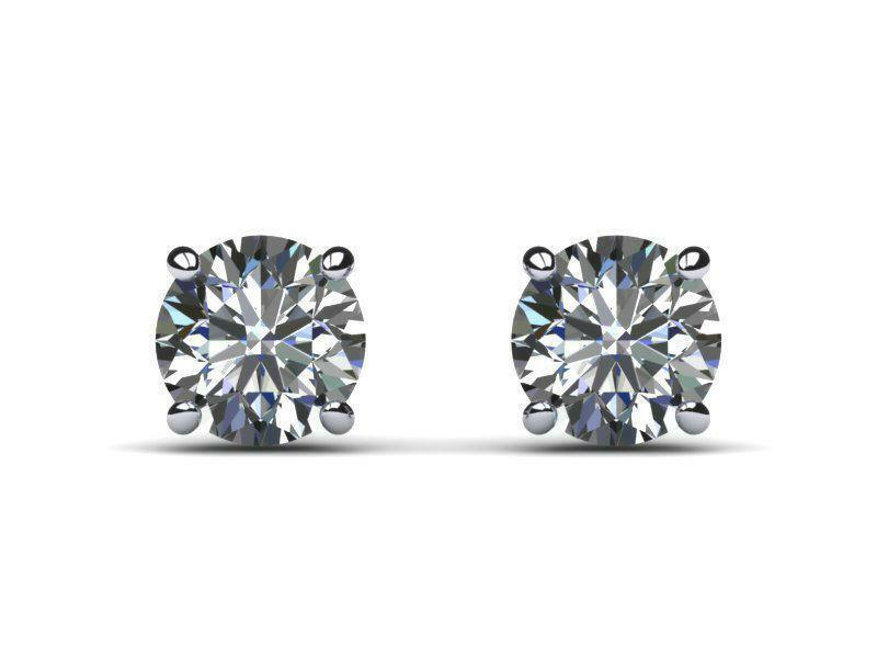 DIAMOND EARRINGS STUD 3 CT D SI2 ROUND BRILLIANT 14 KARAT WHITE gold NEW JEWELRY