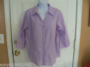 Covington-Purple-3-4-Sleeve-Button-Down-Blouse-Size-18W-Womens-NWOT