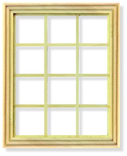 1:12 Escala de Madera georgiano 12 Panel Marco de ventana tumdee Casa de Muñecas en Miniatura 004