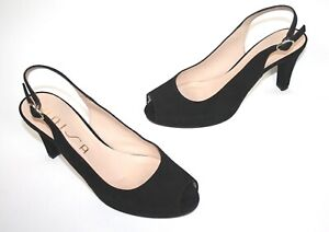 UNISA-PEEPTOES-SLINGPUMPS-SLINGBACKS-HIGH-HEELS-PLATEAU-BLACK-40-505