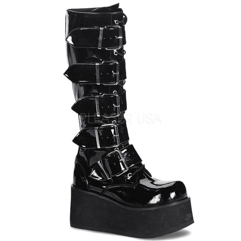 Cómodo y bien parecido Demonia Goth punk knee Boots trashville - 518 charol negro