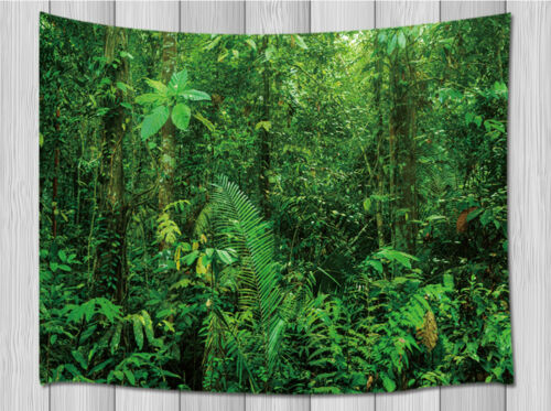 Green tropical rainforest vegetation Decro Tapestry for Bedroom Living Room Dorm