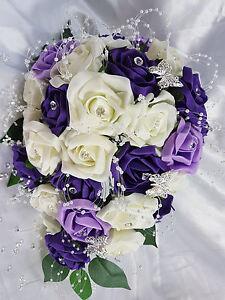 Wedding Flowers Ivory Purple Lilac Brides Bridesmaids Bouquet ...