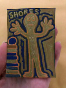Original-ACEO-Blue-Outsider-Art-Brut-Painting-Jay-Snelling-Shores-Figure
