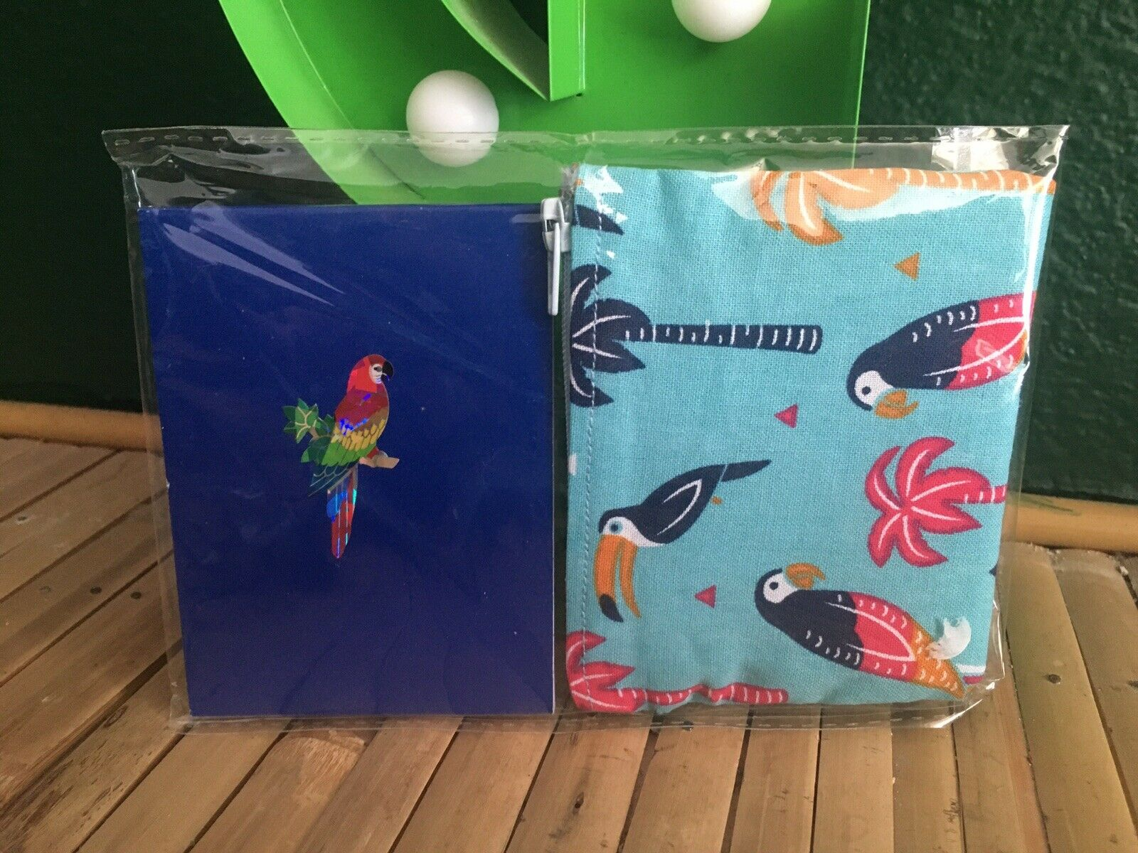 Tropical Toucan Parrot Palm Tree Coin Purse +Blue Notebook 2 Piece Gift Set