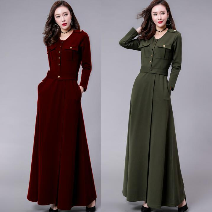Stylish Womens Full Length Dress Slim Fit Elegant Button Long Sleeve Ball Gown