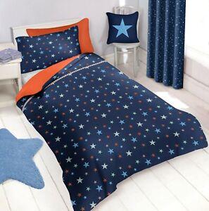quality design 7d721 e182a Details about Cot Toddler Bed Duvet Cover & Pillowcase Bedding Set - Navy  Blue Stars