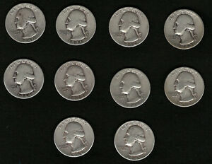 Lot-of-10-Washington-Silver-Quarters-Coins-From-1940-1949-FREE-Shipping