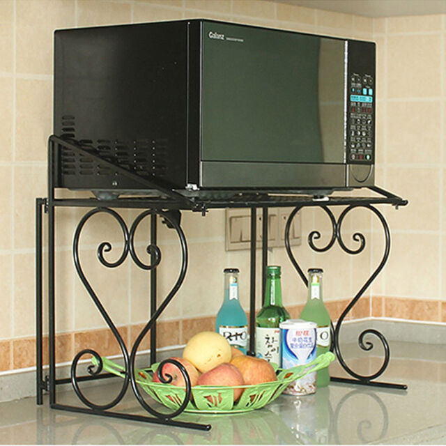 2 Tier Metall Microwave Oven Shelf Kitchen Shelf Microwave Holder Storage  Rack