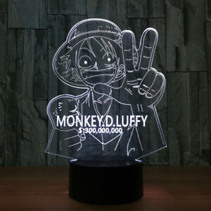 3d One Piece Wanted Luffy Night Light Acrylic Led Table Desk Lamp