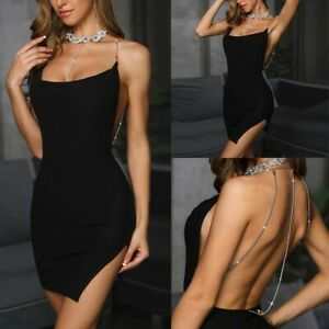 Cocktail-Party-Dress-Short-Mini-Women-039-s-Sleeveless-Club-Evening-Bandage-Bodycon