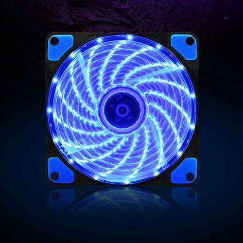 12V 15LED Light Noiseless 120mm PC Computer Case Cooling Fan  Heat Dissipation