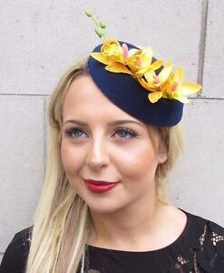 Navy blue yellow orchid flower pillbox hat fascinator races image is loading navy blue yellow orchid flower pillbox hat fascinator mightylinksfo