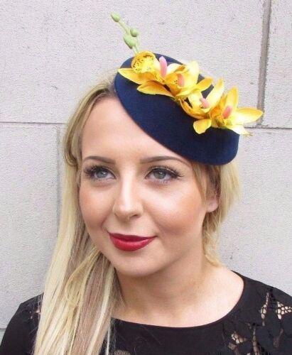 Navy Blue Yellow Orchid Flower Pillbox Hat Fascinator Races Headpiece Clip 3497