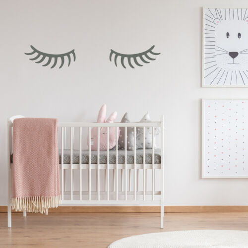 EYELASH SLEEPING 2 vinyl wall stickers decal removable kids room decor UK