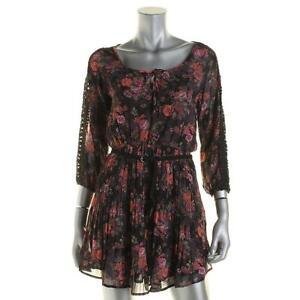 da86d57fa NEW! AMERICAN RAG Juniors XS Black Floral Print Tunic Top Mini-Dress ...