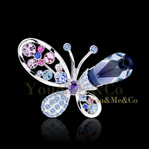 18k-White-Gold-EP-Brilliant-Pear-Cut-Multistones-Crystal-Butterfly-Brooch-Pin