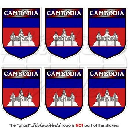 CAMBODIA Cambodian Shield Kampuchea Mobile Cell Phone Mini Stickers Decals x6