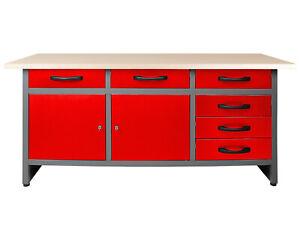 Ondis24 Werkbank rot Werktisch 160 cm Montagewerkbank Schubläden Türen Werkstatt