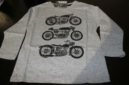 NEW GREY COTTON BOYS  MOTORBIKE LONG SLEEVE TOP TEE SHIRT SIZE 3,4,5,6,7