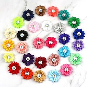 10-100Pcs-Satin-ribbon-flower-Bows-shiny-rhinestone-applique-DIY-wedding-Crafts