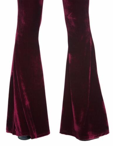 Bordeaux velours Gypsy Gothique 70 S Indie Rock Flare Bell Bottoms 134 mV Pantalon S M L