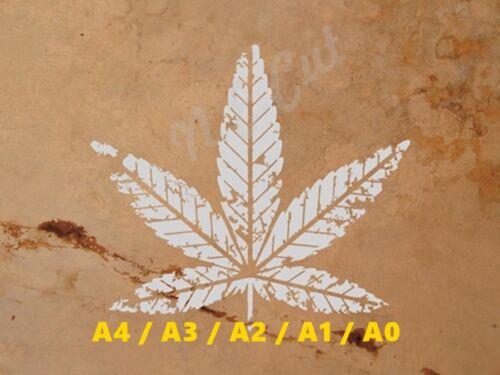 Marijuana MJ LEAF stencil A4 A3 A2 A1 A0 14cm to 1.2 meters or bigger LEAF001