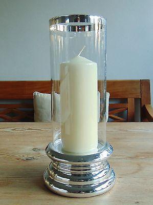 NEU  WINDLICHT KERZENSTÄNDER Glaszylinder silberner Fuß LATERNE 26 x 9 cm