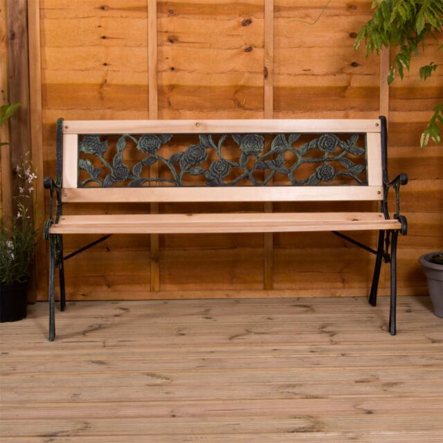 Garden Bench Rose 3 Seater Patio Outdoor Park Seating Wooden Seat Furniture For Online Ebay