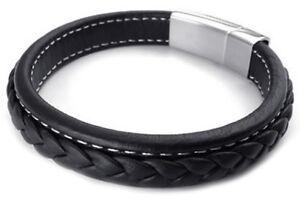 pulsera-joyeria-hombres-brazalete-acero-inoxidable-cuero-negro-F2P9