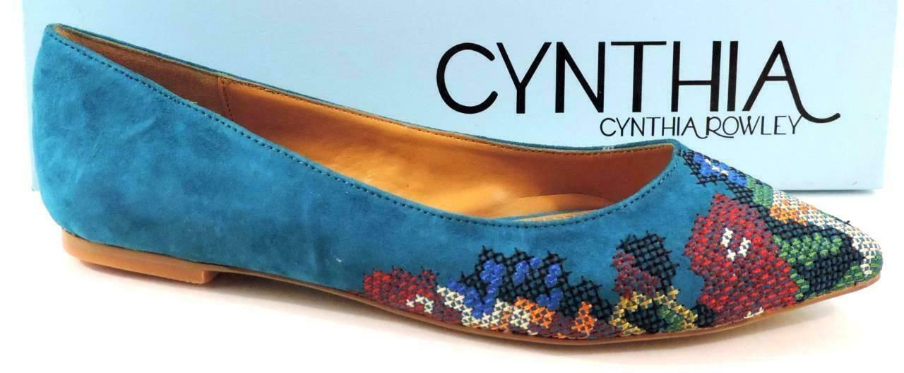 Cynthia Rowley Astor Ballet Flat Pointy Toe shoes Suede Turquoise bluee Size 5.5