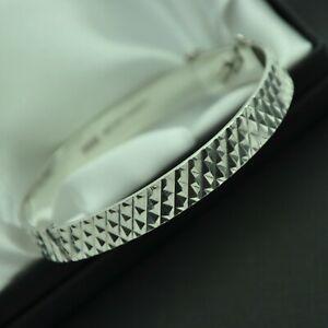 1974-Vintage-Solid-925-Sterling-Silver-Diamond-Cut-Design-Bangle-Bracelet
