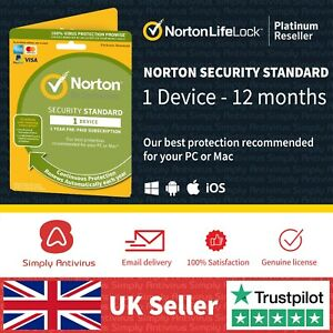 Norton Security Standard 2021 1 Device 1 Year MAC / PC  *5 Min Delivery by Email