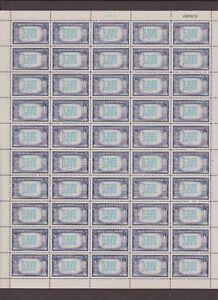US-EFO-916A-GREECE-SCARCE-DARK-BLUE-OVER-LIGHT-BLUE-1943-FULL-SHEET-MINT-NH-OG