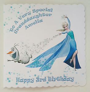 Personalised 3rd Birthday Card Frozen Elsa Olaf Daughter