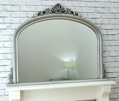 Reading Large Arched Overmantle Antique Silver Ornate Wall