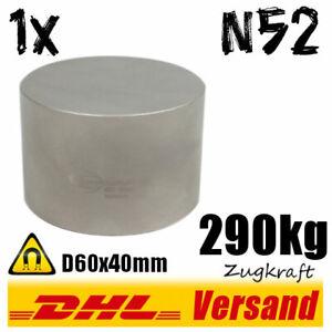 Neodym-Magnet-D60x40mm-6x4cm-290kg-N52-starker-super-runder-rund-Scheibenmagnet