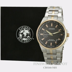 Authentic Citizen Eco-Drive Men's World Perpetual A-T Two Tone Watch CB0166-54H