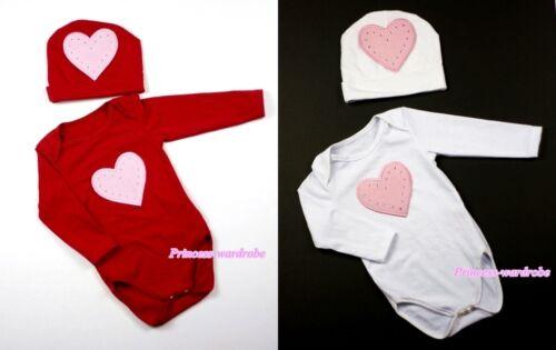 Xmas Baby Long Sleeve Jumpsuit Romper Light Pink Heart Print hat 2PC Set NB-12M