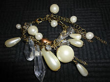 "Brass Tone Link & White Faux Pearl Bracelet with Heart - VGC - 7.5"" long"