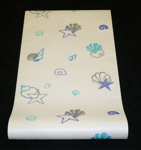 1 Rolle Vliestapete waschbeständig super Design Tapete weiß blau 6627-08-2